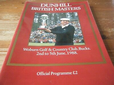 1988   Dunhill  British Masters  Golf  Programme   78   Pages   Vgc