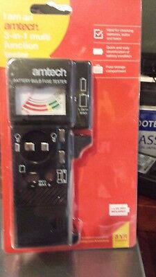 Amtech New Battery, Bulb and Fuse Tester 3 in 1 Multi-Function Battery Tester