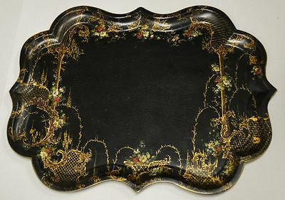 Antique Galleried Paper Mache Tray with Gilt and Floral Decorations