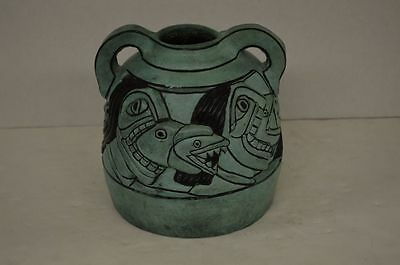 Signed Mexican Art Bronze Vase with Mayan Style Decorations 1986