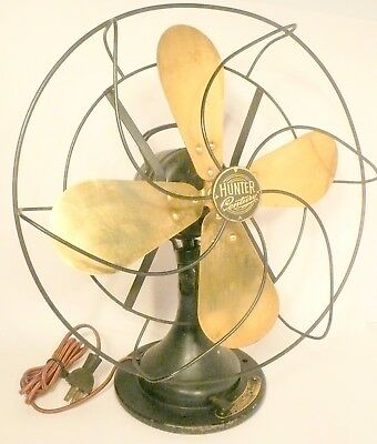 "vintage Working HUNTER CENTURY 12""  BRASS BLADE / 2 SPEED OSCILLATING FAN #250"