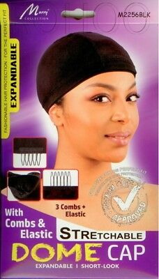 Murry SPANDEX DOME WIG CAP with 3 Combs + Elastic / Stretch High Band M2256 BLK