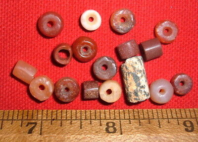 (17) Colorful Tiny Sahara Neolithic Stone Beads, Prehistoric African Artifacts