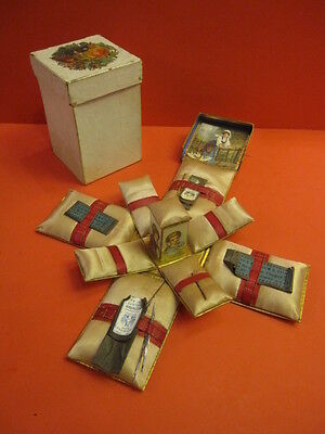 All Original 1890 Needle Box & Pin Cushion Set In Original Box Fantastic Find !