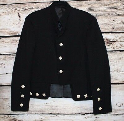 Vintage Scottish Black Military Jacket The Scotch House Size 42(see Measurement)