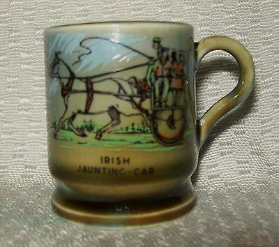 VINTAGE 'IRISH PORCELAIN' MINIATURE MUG (Irish Jaunting Car design)