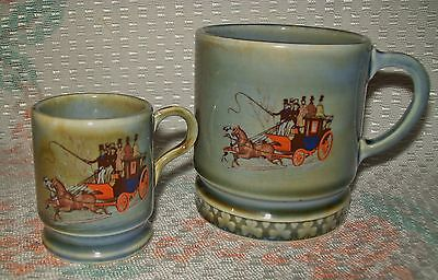 2 x VINTAGE 'IRISH PORCELAIN' MUGS (1 regular/1 miniature) Stage Coach design