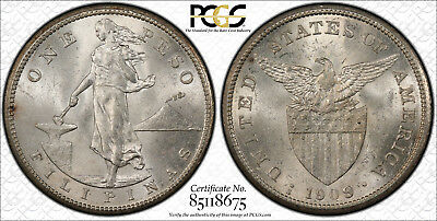 US Philippines 1909-S One Peso PCGS MS 62 ~CPPM~