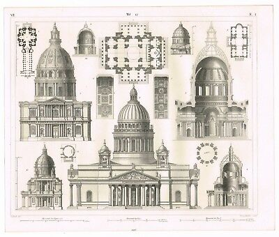Vintage Antique Print 1851 Engraving Architecture European Church 16Th 17Th Cen