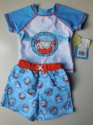 Baby Boy Bathers Rash Top + Shorts Size 00 Fits 3-6M Spf 50 *new