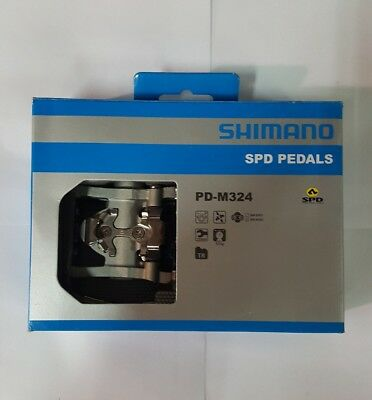 Shimano PD M324 Silver SPD Clipless Pedals (New)