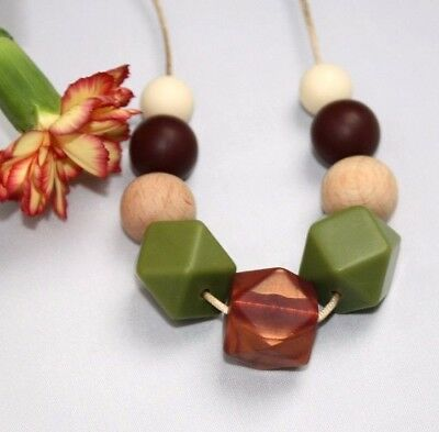 Necklace for mum (was teething) Brown Silicone jewellery boho sensory natural
