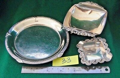 JOB LOT of 3 Antique,silver ASH TRAYS, hallmarked and handcrafted.(33)