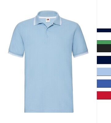 5er Pack Herren Poloshirt Fruit of the Loom Baumwolle S bis 3XL Tipped 63-032-0