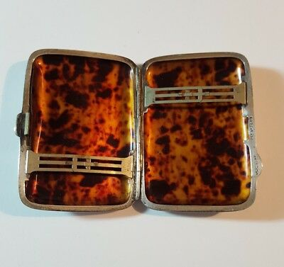 Antique Sterling Silver & Faux Tortoiseshell Cigarette Case Philip Stott College