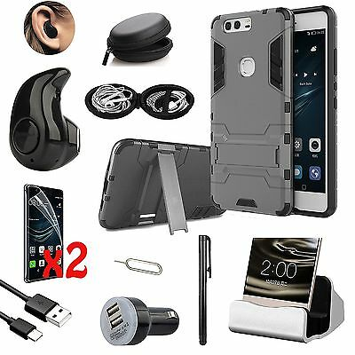 Case Cover+Dock Charger+Bluetooth Earphones Accessory Bundle For Huawei Mate 8