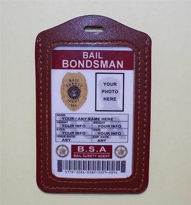 Bail Bondsman ID Badge >CUSTOMIZE WITH YOUR PHOTO & INFO<  BAIL SURETY AGENT ID