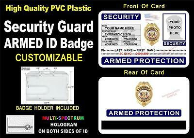 ARMED SECURITY GUARD ID Badge (HOLOGRAPHIC) PVC Plastic Comes with badge Holder