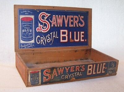 Fine Old Vintage Store Display Box - Sawyer's Crystal Blue - Soap - Graphic - NR