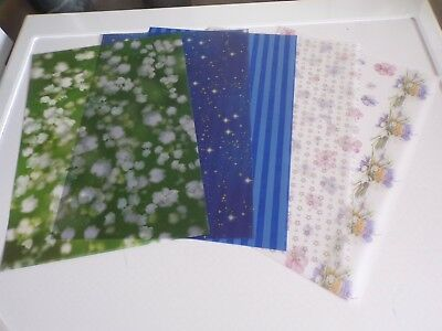 5 X Vellum Sheets In Different Styles   29X21 Cm New New (Vs13)