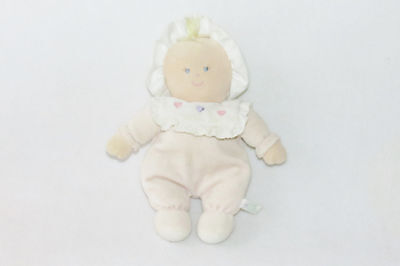 Russ Pink Camille 3 Heart Bib Rattle Bonnet Plush Stuffed Baby Doll Toy 24428