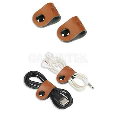 2pcs PU Leather Fastening Cable Tie Organizer for Headset USB Data Cable