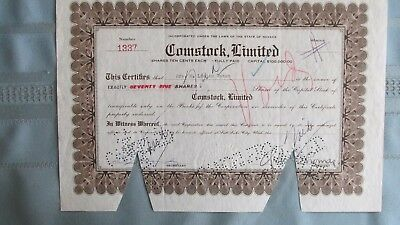 Virginia City Nevada Comstock Limited Mining Stock Certificat-Signed & Cancelled