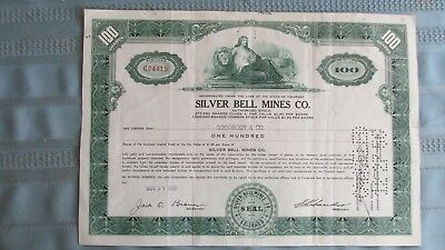 Ophir Colorado Silver Bell Mines Company Stock Certificate-Signed-Uncancelled