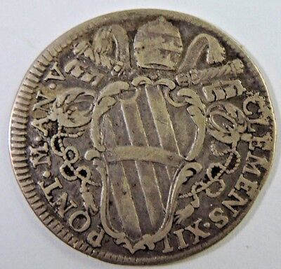 Papal States 1734 1 Giulio Silver Coin