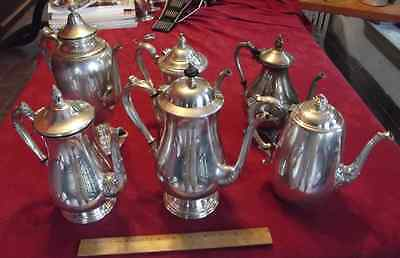 LOT 6 Vintage Coffee Serving Tea Pot Service Silverplate silver