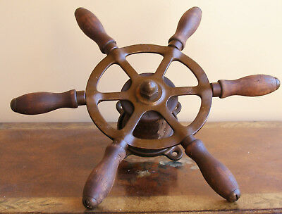 "Antique Steel 12."" Ship wheel mahogany handles solid bronze frame nautical decor"
