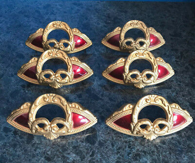 "Set Of 6 Vintage Antique Brass And Red 4"" Drawer Pull Decorative Handle"