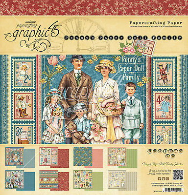 Graphic45 PENNY'S PAPER DOLL FAMILY 12x12 PAPER PAD scrapbooking (24) SHEETS