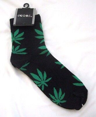 Men's Pair of Ankle High Black with Green MJ Weed Leaves Socks,Size 10-13-New!