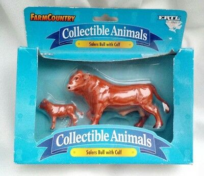 New ERTL Farm Country Collectible Animals - Salers Bull with Calf Toy 1997 #4726