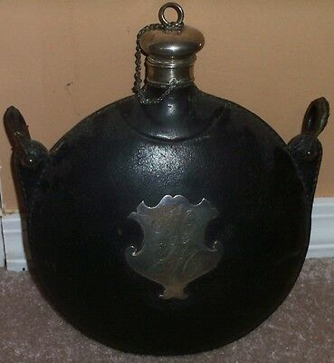 Vintage Antique Leather Covered Victorian Canteen w Marked Sterling Silver Plug