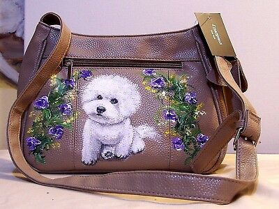 hand painted Bichon Frise genuine leather tan d'margeaux double entry hand bag