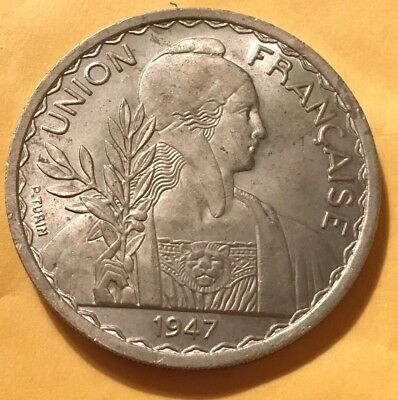 1947 French Indo-China 1 Piastre - AU - Low Mintage