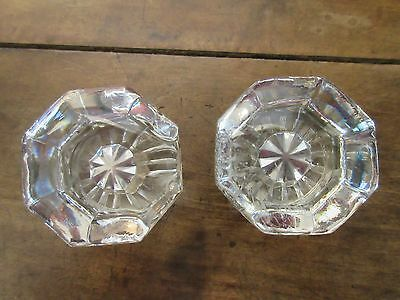"""Vtg 2 Glass Crystal 8 Sided Doorknobs With Brass Fittings * 2 1/4"""""""