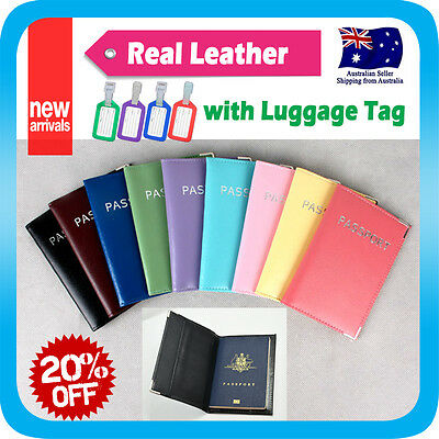 Passport Holder Leather Travel Wallet Cover Card Case Protector Organiser +Tag