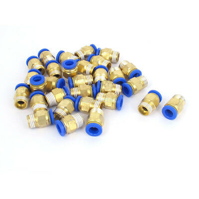 30 PC8-02 Pcs 8mm Tube to 1/4BSP Thread Push in Quick Connect Coupler Fittings