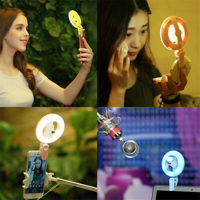 Universal Photography Flash Light Up Selfie Luminous Lamp LED Ring with Fan HE