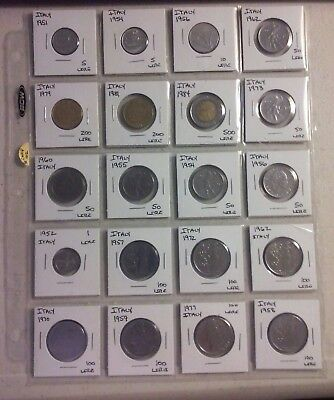 Italy Coin Lot - (1951 to 1984) -20 Different Carded Coins - (#CWCP102)