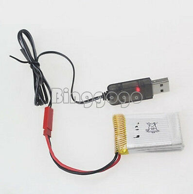 3.7 V 500mA Output 1S Lipo Lithium Battery USB Cable Charger Red JST Female Head