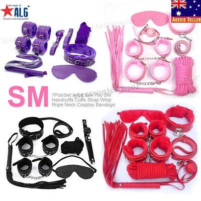 7Pcs/Set Adult Toy SM Handcuffs Cuffs Strap Whip Rope Neck Cosplay Bandage
