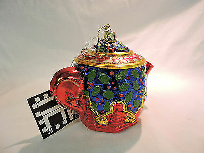 TEA FOR TWO TEAPOT AP1169 Mary Engelbreit Polonaise Komozja Blown Glass Ornament