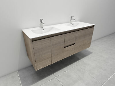 Melbourne 1500X520X580Mm Double Wooden Bathroom Wall Hung Vanity Stone Top, 16Um