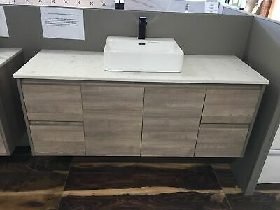 Melbourne 1500X520X580Mm Single Wooden Bathroom Wall Hung Vanity Stone Top 16Ot