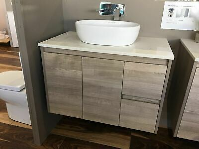 Melbourne 900X520X580Mm Wooden Bathroom Wall Hung Vanity With Stone Top, Bv16Ot