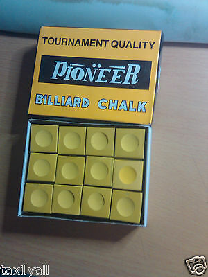 GOLD Pioneer Chalk Box of 12  Pool Snooker Billiard   + OTHER COLOURS AVAILABLE